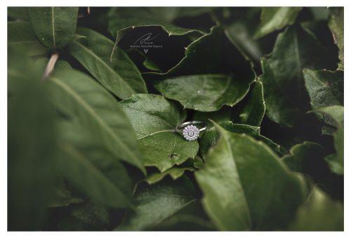 zásnubní prsten v zelených listech