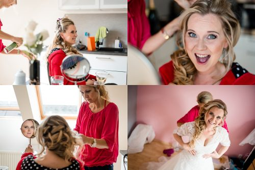 česání a oblékání nevěsty blond vlasy